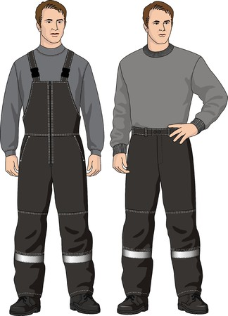 L'homme en salopette et un pantalon avec une poche