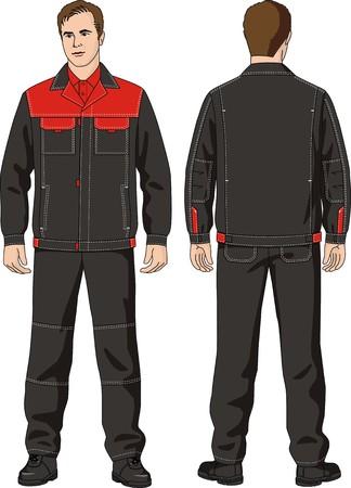 ジャケットおよびオーバー オールから成る夏スーツを着た男