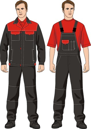 jumpsuit: The man in the summer suit consisting of a jacket and overalls