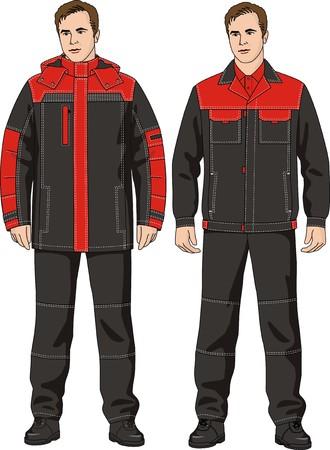 ropa trabajo: El hombre en el traje de invierno que consiste en una chaqueta y pantal�n