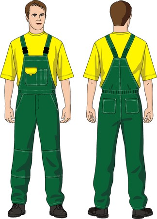 The man in overalls with pockets and a T-shirt Vector