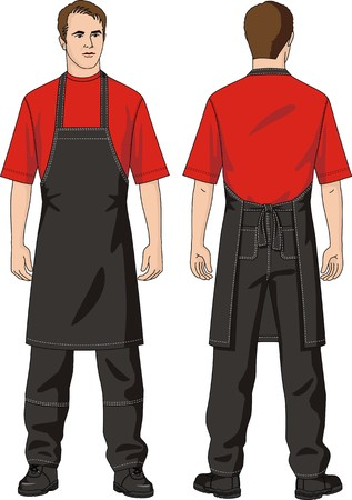 overalls: The man in an apron and trousers with pockets