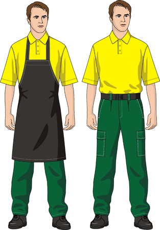 protective apron: The man in an apron and trousers with pockets
