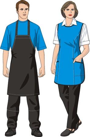 overol: El hombre y la mujer en un delantal y pantalones