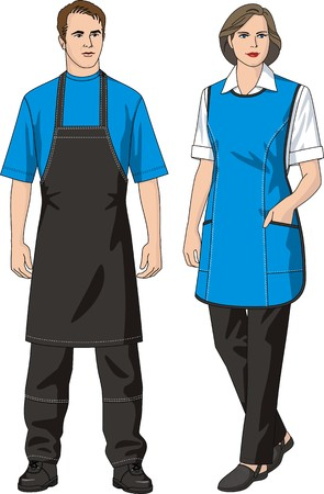 The man and the woman in an apron and trousers