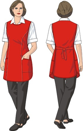 protective wear: The woman in an apron and trousers