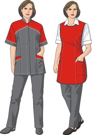 protective wear: The woman in a suit consisting of a jumper, an apron and trousers