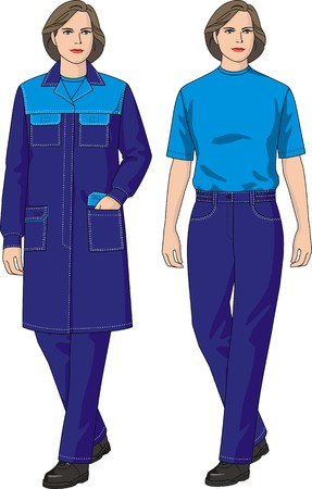 protective gown: The woman in a dressing gown and trousers with pockets