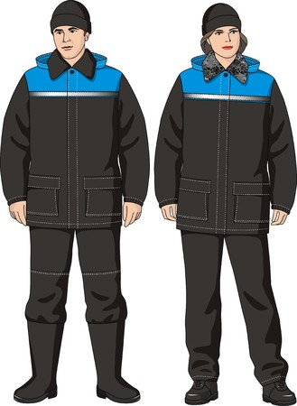 jumpsuit: The man and the woman in the winter suit consisting of a jacket and trousers Illustration