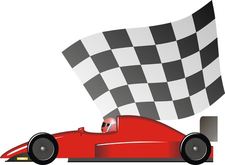 The racing car against a black-and-white flag Stock Vector - 8500051
