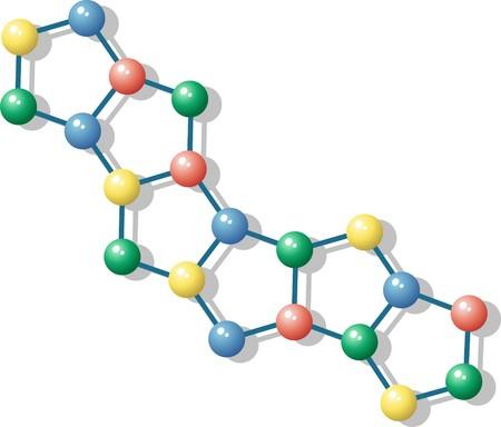 quimica verde: Mol�cula con �tomos de color diferentes y las comunicaciones
