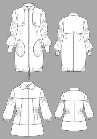 Raincoat female a long sleeve and pockets Stock Vector - 8576265