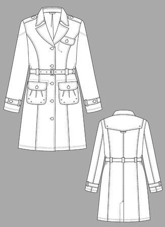 Raincoat female a long sleeve and pockets Stock Vector - 8576195