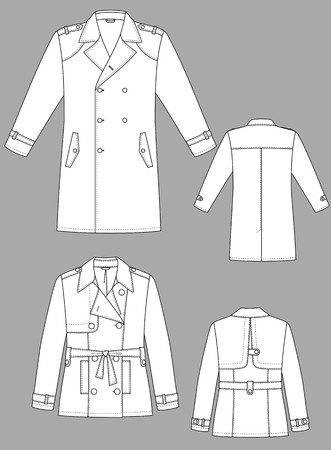 lapel: Raincoat mans with a long sleeve and pockets Illustration