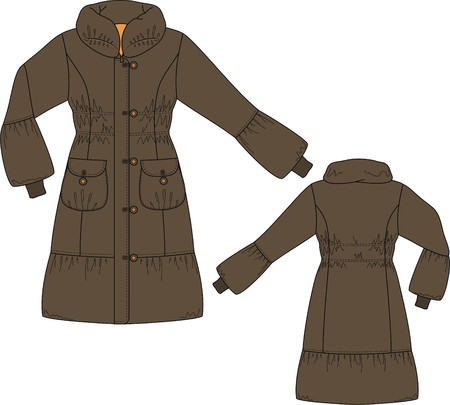 warm clothing: Coat female with long sleeves and pockets