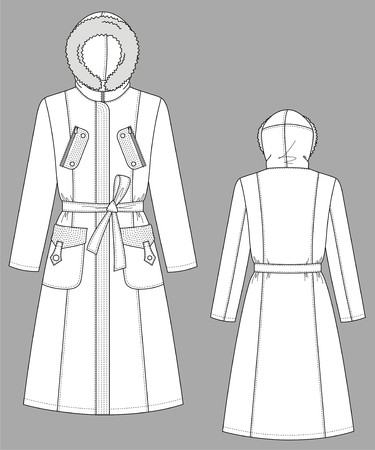 Coat female with long sleeves and pockets Vector