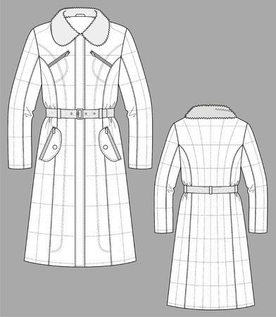 dress coat: Cappotto femmina con maniche lunghe e tasche Vettoriali