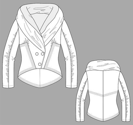 dress coat: Giacca invernale femmina con una manica lunga e tasche Vettoriali