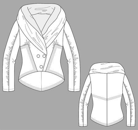 Jacket winter female with a long sleeve and pockets Vector