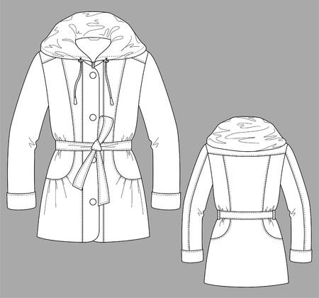 Jacke Winter Weibchen mit einem langen Ärmel und Taschen