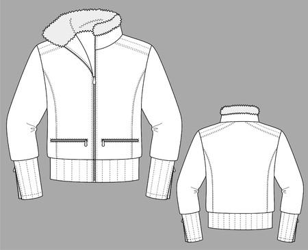 長い袖とポケット付きのジャケット冬女