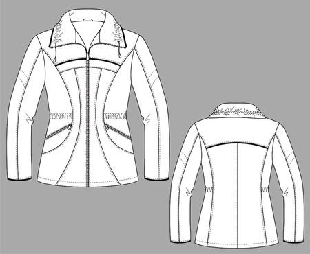 �rmel: Jacke Winter Weibchen mit einem langen ?rmel und Taschen Illustration