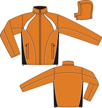 bata blanca: Deportes de chaqueta con una manga larga y bolsillos Vectores