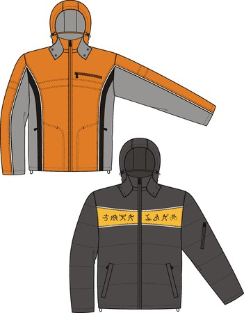 Jacket sports with a long sleeve and pockets Vector