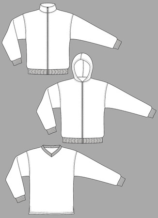 Jacket knitted with a long sleeve and pockets Stock Vector - 8931869