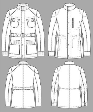 Jacket for man with a long sleeve and pockets Vector