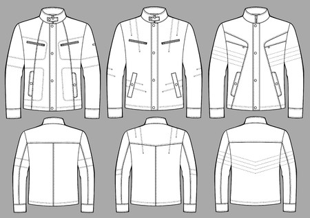 white coat: Jacket for man with a long sleeve and pockets Illustration
