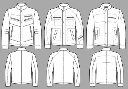 outset: Jacket for man with a long sleeve and pockets Illustration