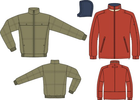 winter jacket: Jacket for man with a long sleeve and pockets Illustration
