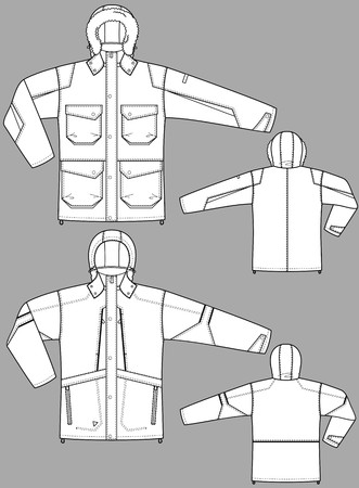 Jacket winter for man with a long sleeve and pockets Vector