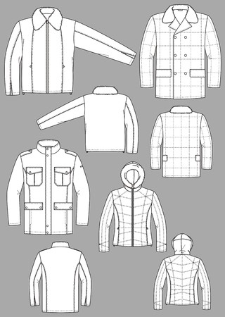 outset: Jacket winter for man with a long sleeve and pockets