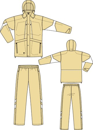 white coat: The suit sports consists of a jacket and trousers Illustration