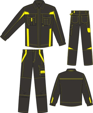 yellow jacket: The suit for man summer consists of a jacket and trousers with pockets
