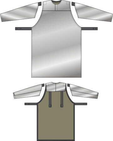 sundress: Apron with a reflecting fabric and protective oversleeves