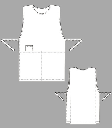 Apron of a squared shape with outsets and pockets  Vector