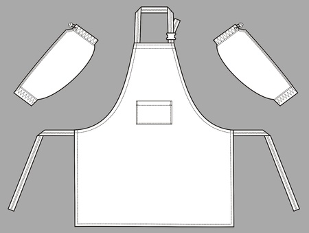 trapeze: Apron in the form of a trapeze with a pocket and oversleeves