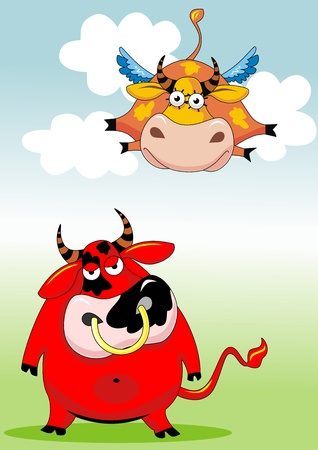 Red malicious bull and happy flying cow in clouds