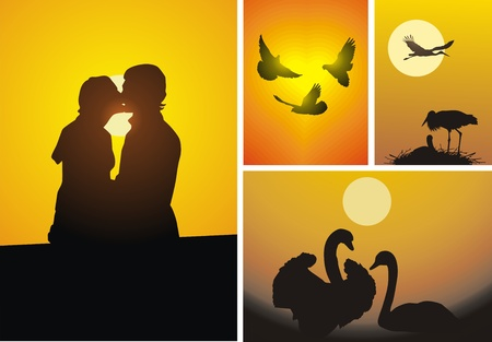 Enamoured people and birds in life and in the nature Vector