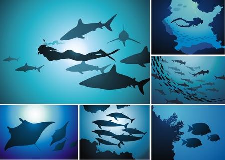 魚や水中の世界の哺乳類を持つ人々  イラスト・ベクター素材