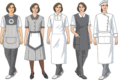 protective apron: Kinds of female aprons for various female trades Illustration