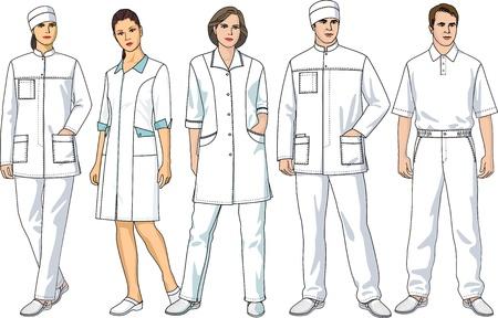 enfermera con cofia: Tipos de ropa para médicos y personal de enfermería Vectores