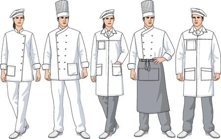 Divers types de vêtements pour hommes et femmes de cuisiniers