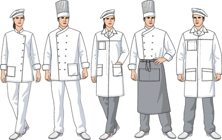 suit  cuff: Various kinds of clothes for men and women of cooks