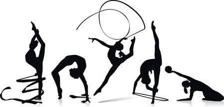 gimnastas: Diversas figuras de la gimnasta con una cinta, una esfera y se pega
