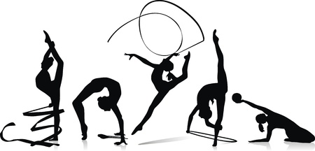 Various figures of the gymnast with a tape, a sphere and sticks