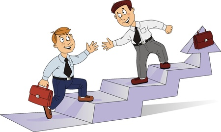 Two businessmen rise on a career ladder